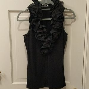 Cabi Black Lace Ruffle Neck Top
